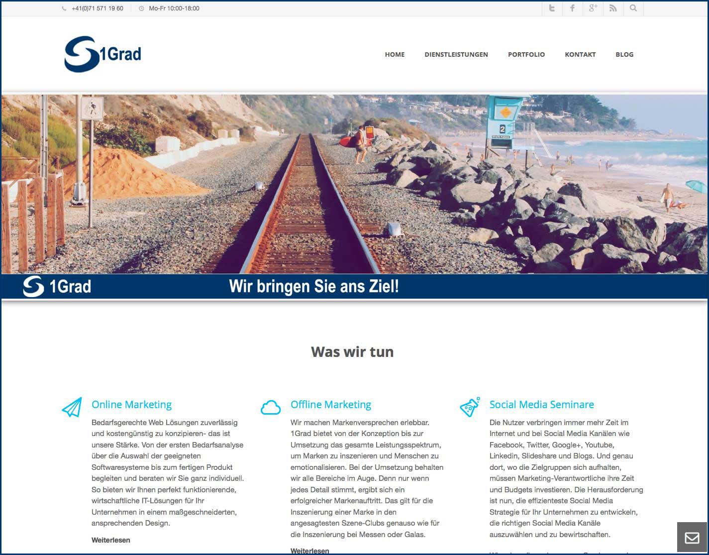 Alte 1Grad Webseite - vor dem Redesign