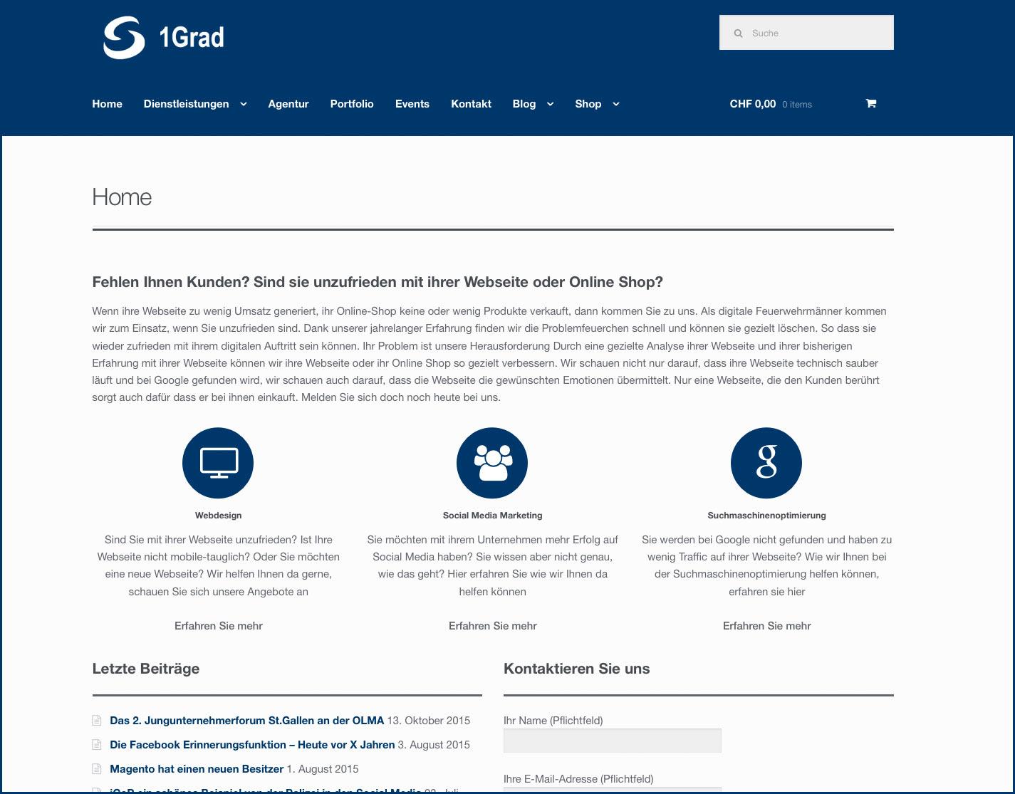 Neue 1Grad Webseite - nach dem Redesign