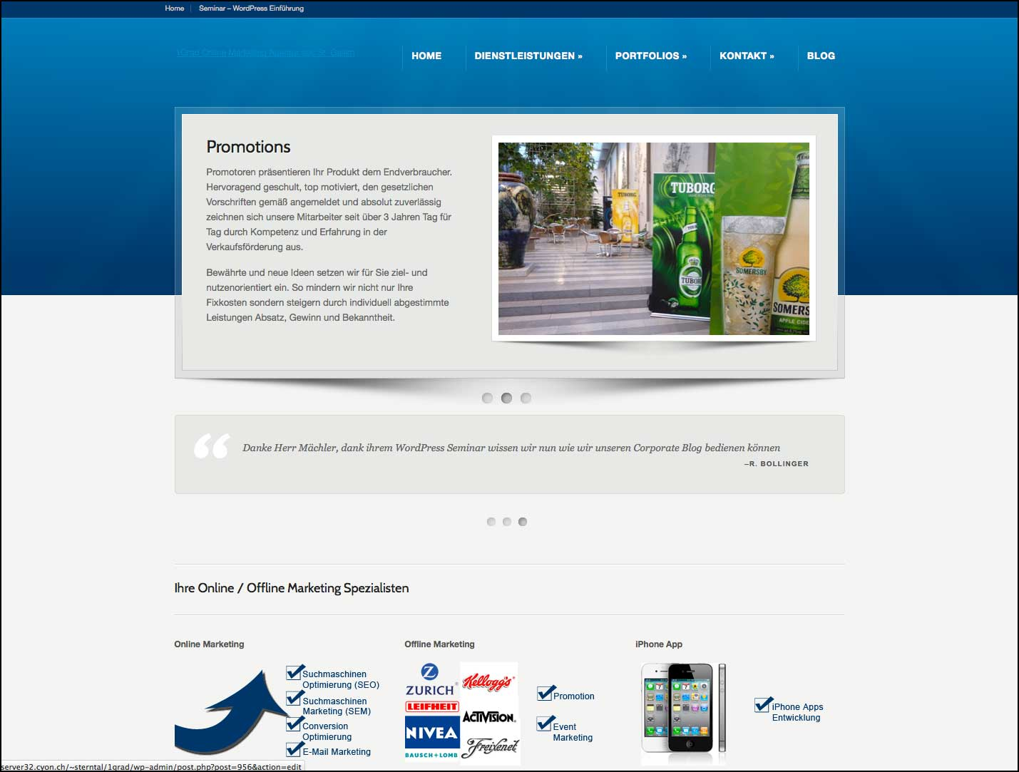 Redesign 1Grad Webseite (alte Version)