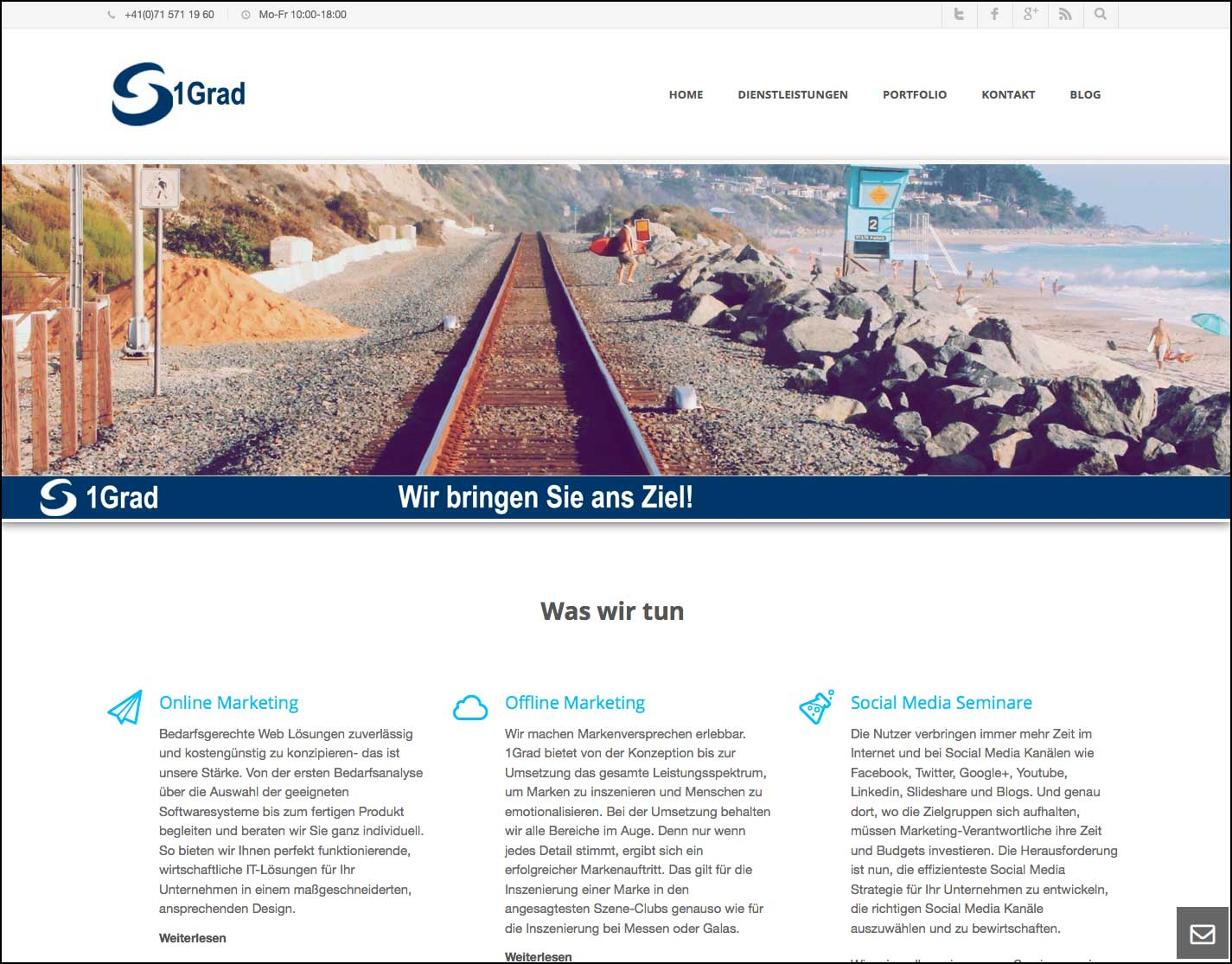 Redesign 1Grad Webseite (neue Version)
