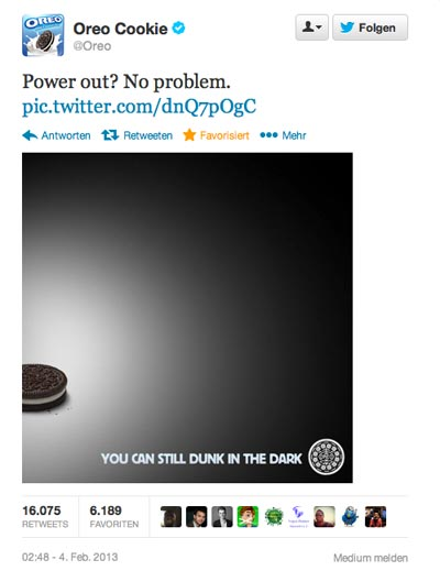 Social Media Kampagne Super Bowl 2013 Oreo Cookies